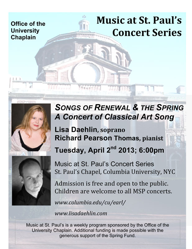 Lisa Daehlin and Richard Pearson Thomas in concert, Tuesday, April 2nd, 2013; Music at St. Paul's Concert Series, Columbia University, NYC