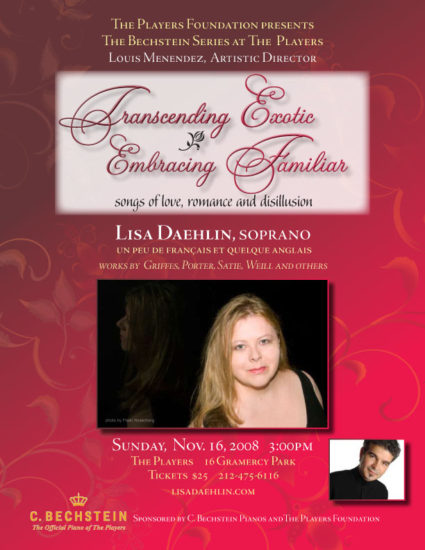 Transcending Exotic Embracing Familiar Lisa Daehlin and Louis Menendez in concert at The Players NYC November 2008